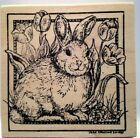 Northwoods Bunny  Tulips in Frame Wood Mounted Rubber Stamp