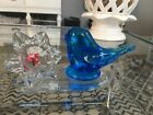 Leo Ward Blue Bird of Happiness Glass Signed No Chips NiceFlower Rare