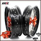 KKE 3.5/4.25 690 SMC Orange Cush Drive Supermoto Wheels Set For KTM 2007-2011
