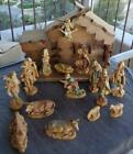 Beautiful Fontanini Full Nativity Set All Wood Manger Plastic Figures ITALY