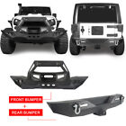 Textured Black Front Rear Bumpers W 18W LED Lights For 07 18 Jeep Wrangler JK