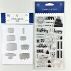 Love Nicole Lot Of 2 Clear Stamp  Embossing Die Sets Happy Birthday  Cake