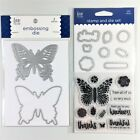 Love Nicole Lot Of 2 Clear Stamp  Embossing Die Sets Butterfly Thank You