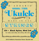 DAddario J54 Set Tenor Uke Hawaii Blk Nylon