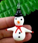 36x48x8mm red white Lampwork Glass carved Snowman pendant bead R22482