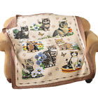 Quilted Throw Blanket Charming Cat Kitten and Floral Collage 60L x 50W