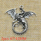 2pcs 4743MM Fly Dragon Charms Antique Silver Tone Pendant Bead Making Jewelry