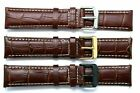 20mm Brown/White Leather Alligator Watch Strap Black, Gold, Silver Tone Buckle
