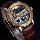 NEW Classic Double Skeleton DIAL Automatic mechanical leather Men's Sport Watch