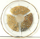 Georges Briard Round Glass Serving Tray Platter Spanish Gold MCM 11.5