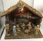 Vtg ITALIAN NATIVITY SET Christmas Manger Scene 10 Figures Made In ITALY Lighted
