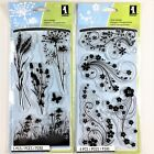 Inkadinkado Lot Of 2 Clear Stamp Sets Meadow  Modern Flower Flourish