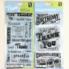 Inkadinkado Lot Of 2 Clear Stamp Sets Thank You Words  Express Yourself