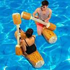 Inflatable Pool Floats Party Play Boat Raft Collision Toys Wood Grain Seat Water