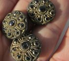 Antique Buttons Black Glass Gilt Gold Lacy Filigree Daisy Floral Set 3 Victorian