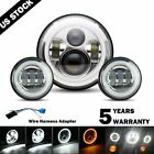 7inch LED DRL Headlight + Passing Lights For Harley Davidson Touring Road King
