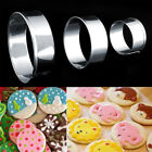 3X set stainless steel round circle shaped cookie cutter biscuit pastry molP0B9