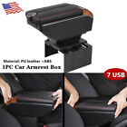 7 USB Charging Car Part Dual Opening Armrest Box Central Console Storage Black