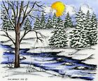 Winter Stream Tree Sunrise Scene Wood Mounted Rubber Stamp NORTHWOODS P9354 New