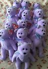 """Ty Beanie Baby 2008 Springer Purple Teddy Bear Floral Lot Of 13 Plush Toy 8"""""""