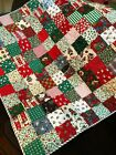 Handmade Christmas Squares Baby Lap Wall Throw Quilt 40 x 40