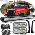52inch LED Light Bar+ Pods+ Mount Bracket + Headlight For Jeep JK Wrangler 87 95