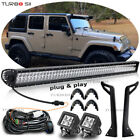 50 inch 288W LED Work Light Bar +Mount Bracket +Pods For Jeep Wrangler YJ 87 95