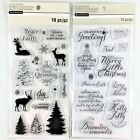 Recollections Lot Of 2 Christmas Clear Stamp Sets Layering Tree