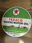 Texaco Marine Motor Oil Gasoline Porcelain Gas Oil Sign