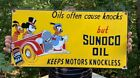 VINTAGE SUNOCO MOTOR OIL PORCELAIN SIGN WITH DISNEY'S DONALD DUCK  MICKEY MOUSE