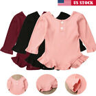 US Cute Baby Girl Soft Romper Bodysuit Jumpsuit Long Sleeve Outfit Clothes Set