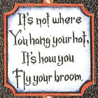 HALLOWEEN Saying Hang Your Hat Wood Mounted Rubber Stamp NORTHWOODS C10076 New