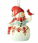 Jim Shore New 2019 RED AND WHITE SNOWMAN MINI HANGING ORNAMENT 6004315 Cardinal