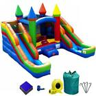 Rainbow Inflatable Bounce House Slide With Pool Double Lane Wet Dry Kids Combo