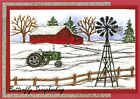 WINTER TRACTOR WINDMILL SCENE Wood Mounted Rubber Stamp NORTHWOODS NN10352 New
