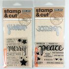 Hero Arts Stamp  Cut Lot Of 2 Clear Stamp Die Sets Merry  Peace Christmas