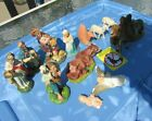 Christmas Nativity Scene Manger Composite Figurines Hand Painted Italy Antique