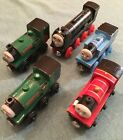 Thomas wooden toy train, Talking James, (2) Peter Sam (s), and Hiro engines