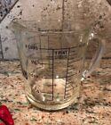 Vintage 2 Cup Fire-King Glass Measuring Cup with Blue Lettering 1 Pint 16 oz.