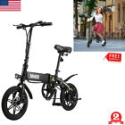 DOHIKER Folding Moped Electric Bike Collapsible Bicycle With LED Headlight Black