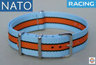 BRACELET MONTRE NATO 22mm GULF racing chronograph watch pilot mechanical strap