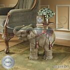 Indian Elephant Side Table Glass Top Realistic Stand Sculpture Exotic Accent NEW
