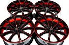 4 New DDR Elite 18x8 5x1143 38mm Black Polished Red Undercut 18 Rims Wheels