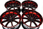 4 New DDR Elite 18x8 5x1143 38mm Black Polished Red Undercut 18 Wheels Rims