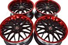 4 New DDR R6 18x8 5x1143 35mm Black Red Lip 18 Wheels Rims