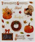 Thanksgiving Greetings Turkey Pumpkin Wreath Harvest Blessings PS Clear Stickers