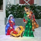 OUTDOOR LIGHTED PRE LIT NATIVITY SET DISPLAY SCENE CHRISTMAS YARD ART DECOR