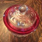 Pink Kings Crown Vintage Mid Century Footed Candy Dish Glass W/Lid Free Sh