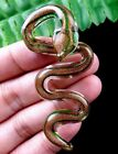 65x29x7mm green gold lampwork glass carved snake Pendant Bead E72858