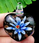 39x32x15mm blue black Lampwork Glass carved heart pendant bead R49647